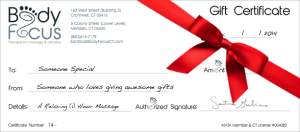 Body Focus Massage Gift Certificates