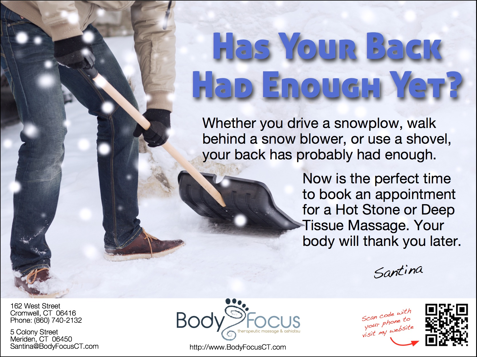 Book a Massage at Body Focus Therapeutic Massage today